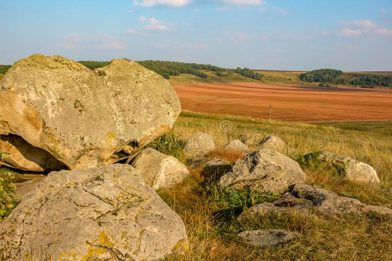 The monument of nature is megalith `Horse Stone` Kon kamen in the valley of the Krasivaya Mecha River. Kozie village, Efremovskiy district, Tulskiy region stock images