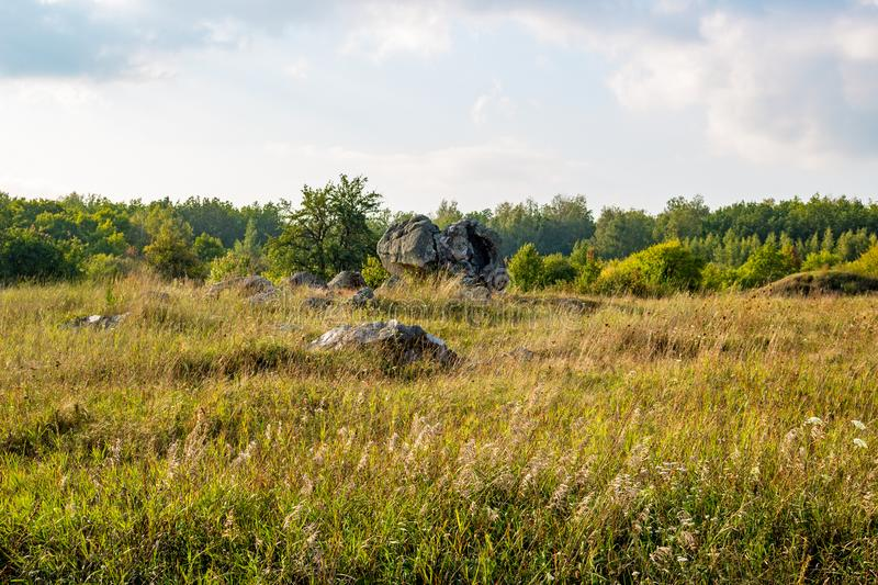 The monument of nature is megalith `Horse Stone` Kon kamen in the valley of the Krasivaya Mecha River. Kozie village, Efremovskiy district, Tulskiy region royalty free stock photography
