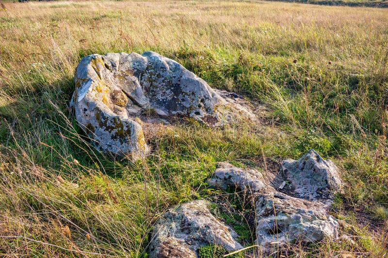 The monument of nature is megalith `Horse Stone` Kon kamen in the valley of the Krasivaya Mecha River. Kozie village, Efremovskiy district, Tulskaya region stock images