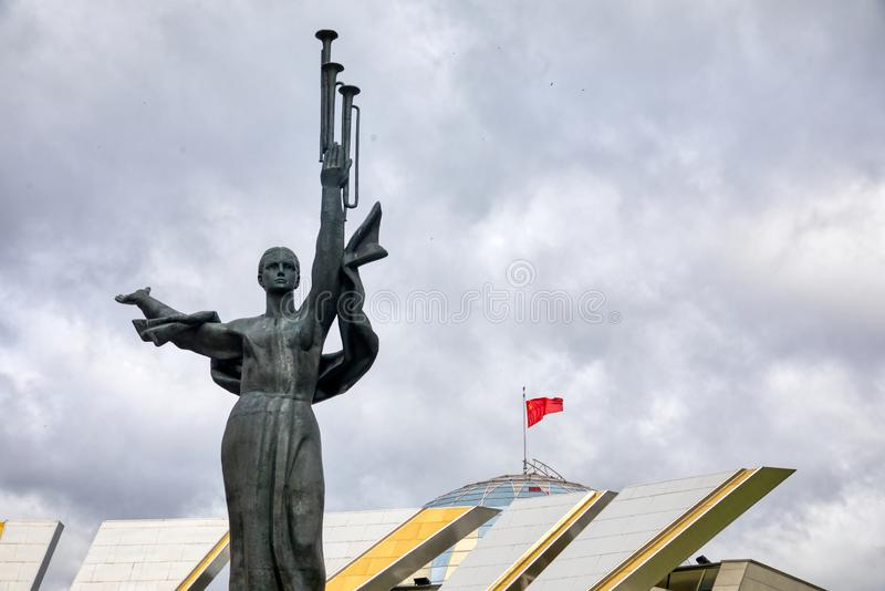 Monument Near Building Belorussian Museum Of The Great Patriotic War In Minsk, Belarus. Minsk, Belarus - Οctober 4, 2018: Monument Near Building Belorussian stock photography