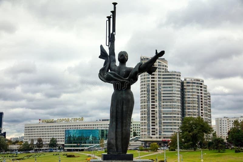 Monument Near Building Belorussian Museum Of The Great Patriotic War In Minsk, Belarus. Minsk, Belarus - Οctober 4, 2018: Monument Near Building Belorussian stock images