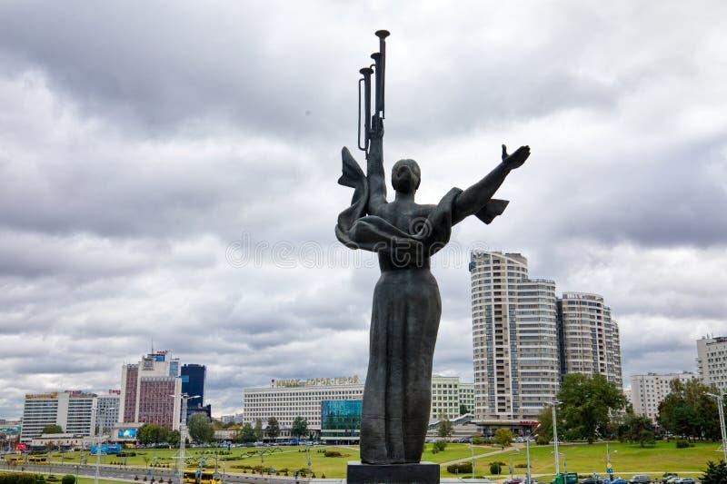 Monument Near Building Belorussian Museum Of The Great Patriotic War In Minsk, Belarus. Minsk, Belarus - Οctober 4, 2018: Monument Near Building Belorussian stock image