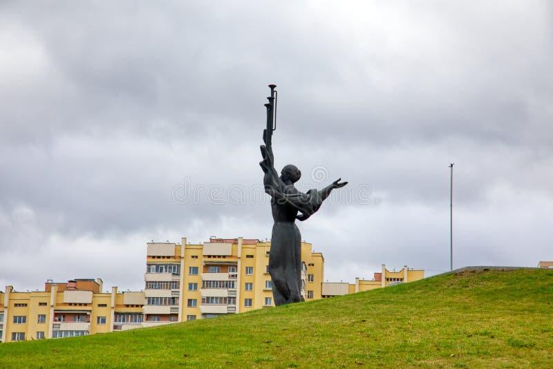 Monument Near Building Belorussian Museum Of The Great Patriotic War In Minsk, Belarus. Minsk, Belarus - Οctober 4, 2018: Monument Near Building Belorussian royalty free stock image