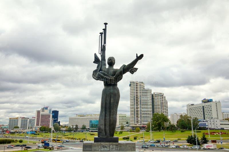 Monument Near Building Belorussian Museum Of The Great Patriotic War In Minsk, Belarus. Minsk, Belarus - Οctober 4, 2018: Monument Near Building Belorussian royalty free stock photography