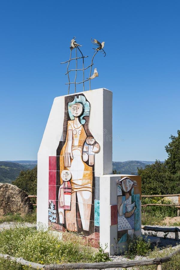 Monument near orgosolo on sardinia stock photo