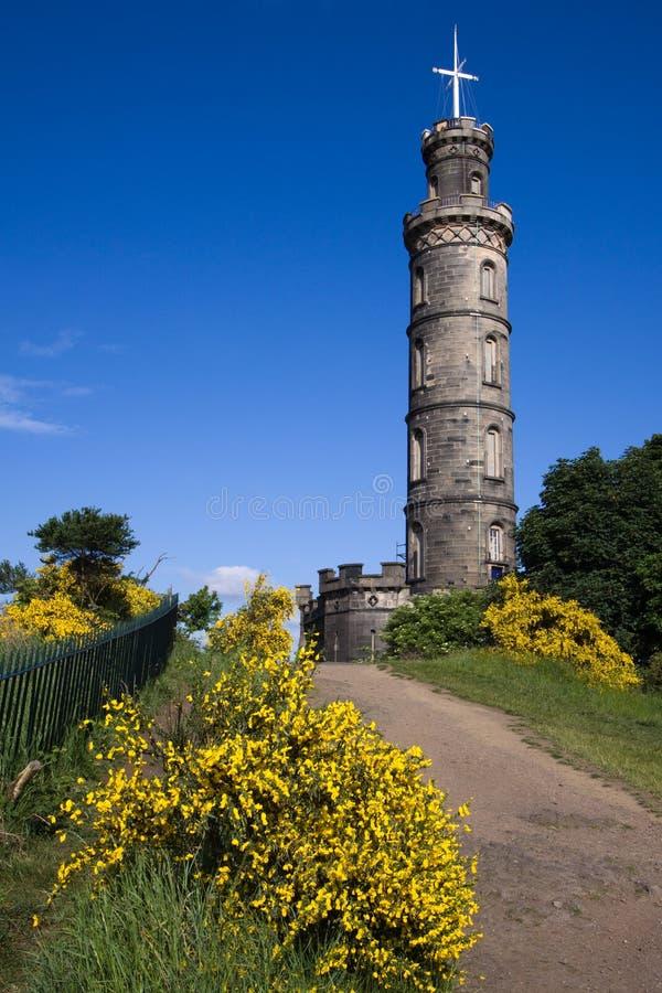 monument nelson s för caltonedinburgh kull royaltyfria bilder