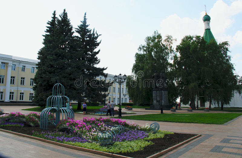 Monument. In 2008, in Nizhny Novgorod, a monument to the founder of the city of St. Prince George Yuri Vsevolodovich, arm in arm with him - his spiritual mentor royalty free stock photography