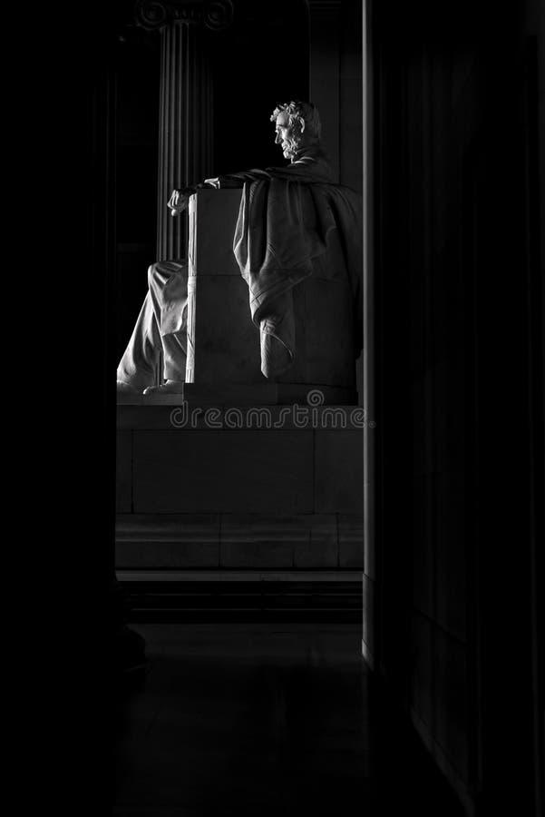 Monument noir et blanc d'Abraham Lincoln images libres de droits