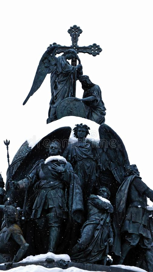 The monument in the Novgorod Kremlin. Monument to the Millennium of the baptism of Russia in Orthodoxy in the Novgorod Kremlin Veliky Novgorod. Russia stock images
