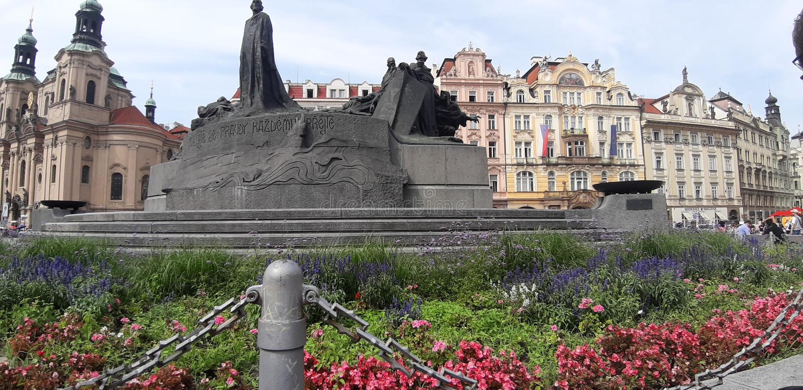 A monument o Jan Hus in old town square, Pragues, Czech. A monument o Jan Hus in old town square, Pragues stock image