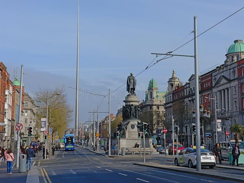Monument och tornspira f?r Daniel nolla-?connel i Dublin royaltyfria foton