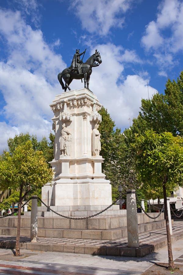 Monument op Plein Nueva in Sevilla royalty-vrije stock afbeelding