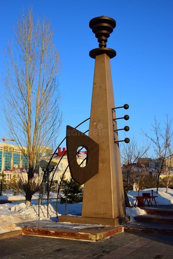 Monument of original design in Astana stock photo