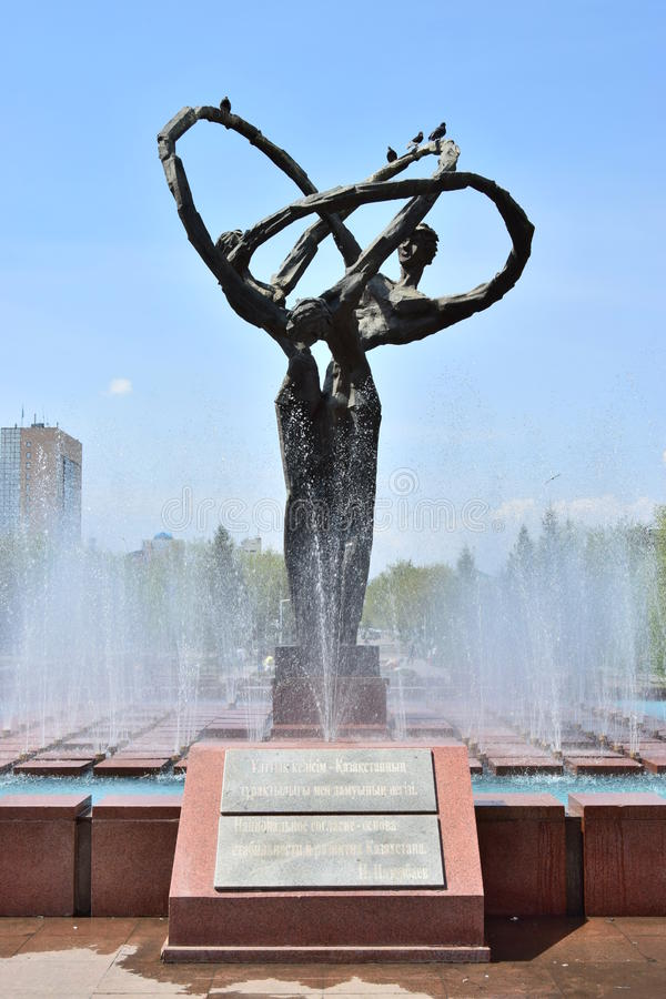 Monument of original design in Astana. Kazakhstan royalty free stock photography