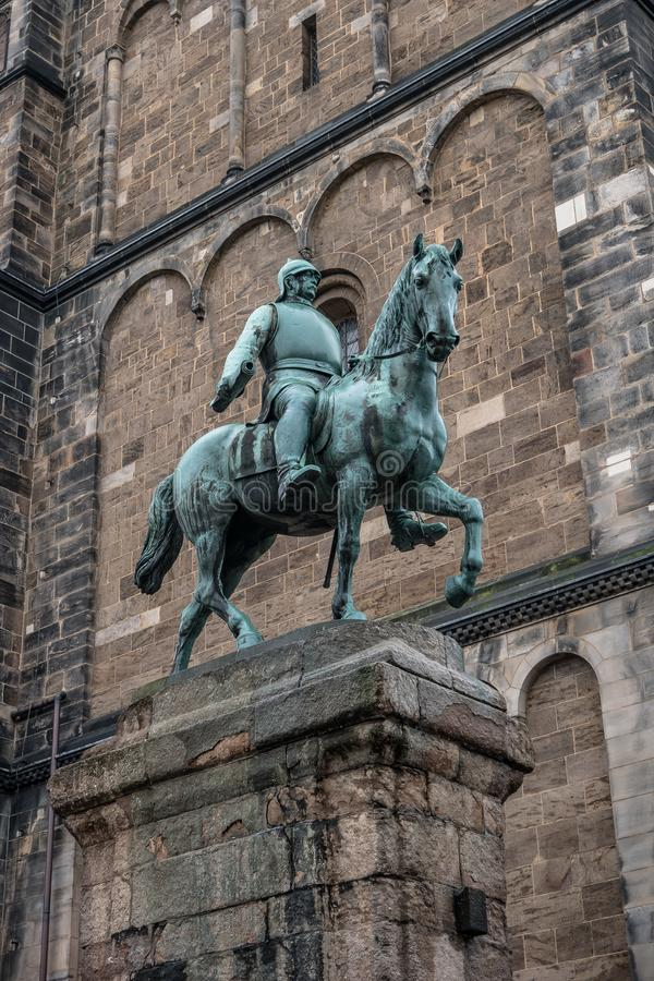 Monument of Otto von Bismarck, German Chancellor in front of Cathedral in Bremen, Germany, Autumn. Monument of Otto von Bismarck, German Chancellor in front of stock photos