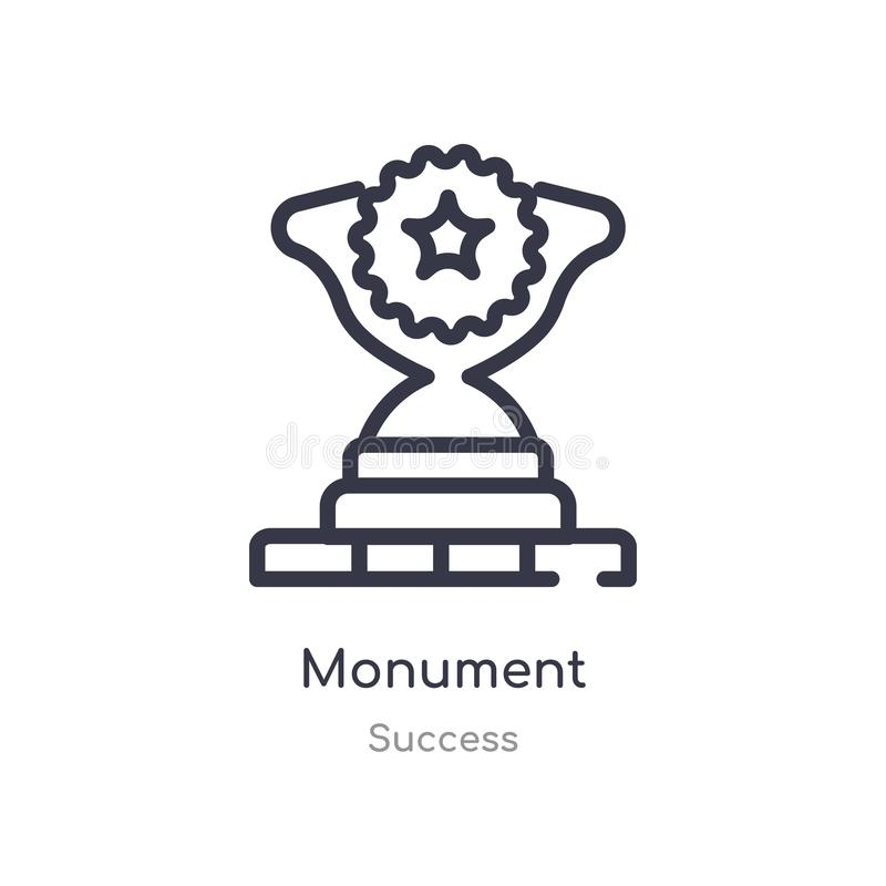 monument outline icon. isolated line vector illustration from success collection. editable thin stroke monument icon on white royalty free illustration