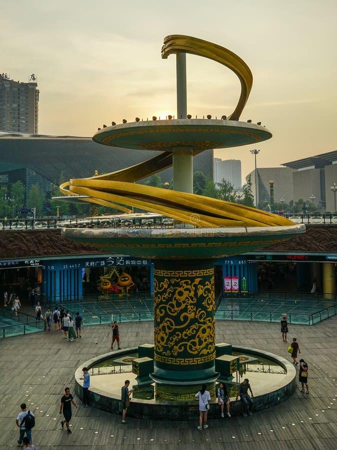 Monument på stadsfyrkanten i Chengdu, Kina arkivbilder