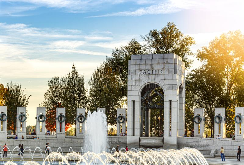The monument of Pacific ocean of the World War II memorial with water splashing from the fountain in a sunny autumn day in stock photo