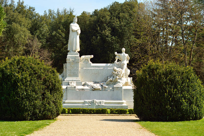 Monument in the park in Arezzo stock image