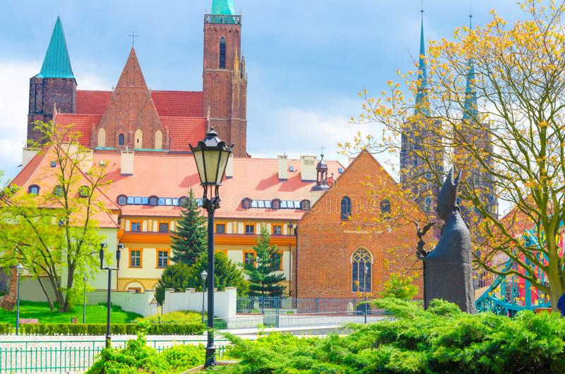 Cathedral of St. John the Baptist in old historical city centre of Wroclaw, Poland stock photos