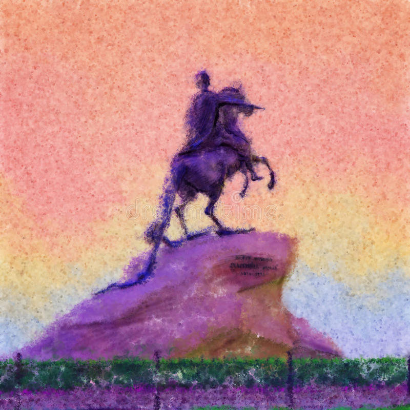 Monument of Peter the first Saint-Petersburg, Russia. Decorative illustration of bronze horseman. royalty free illustration