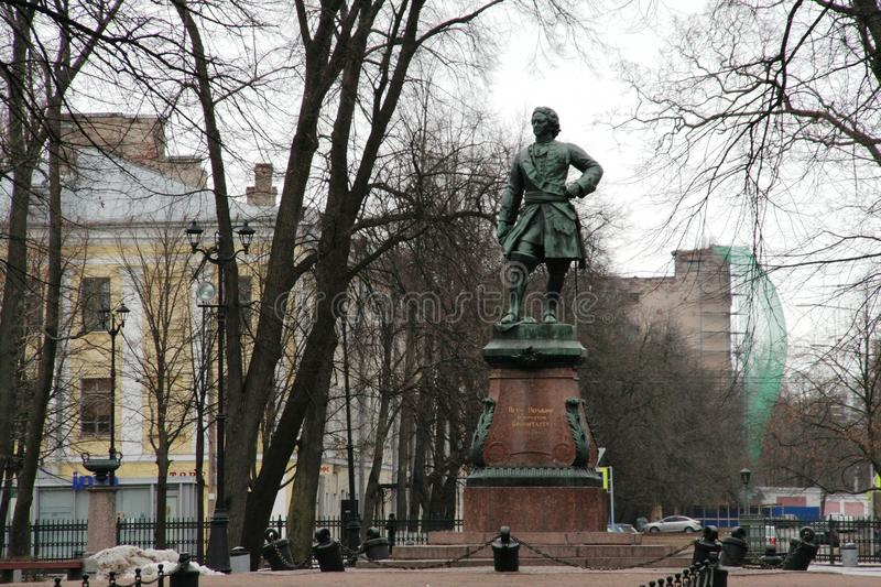 Monument of Peter the Great in Kronstadt, Russia in winter cloudy day stock image