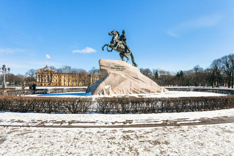 Monument of Peter the Great in the Senate Square. Bronze Horseman monument of Peter the Great in the Senate Square in Saint Petersburg. The monument was built in stock photography