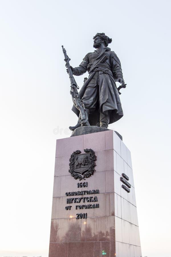 Monument pionnier à Irkoutsk, Fédération de Russie photos stock