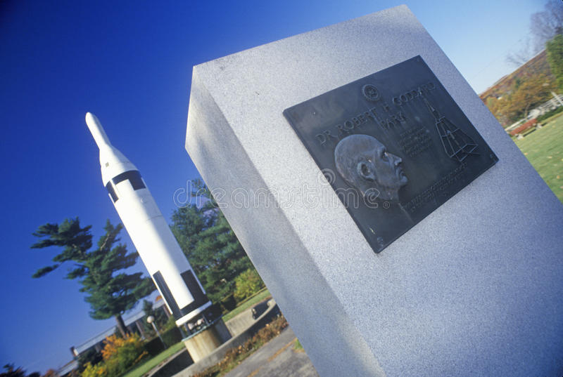 Monument plaque and display rocket at Goddard Rocket Launching Site, a National Historic Landmark, Auburn, MA stock image