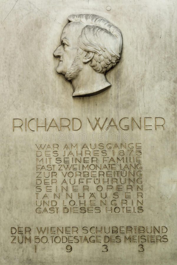 Monument plate to Richard Wagner in Vienna. Wilhelm Richard Wagner 22 May 1813 – 13 February 1883 was a German composer, theatre director, polemicist, and stock images