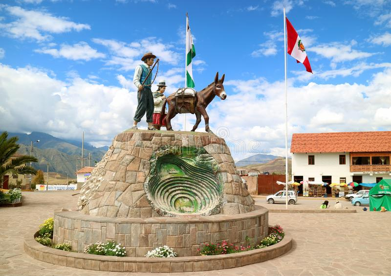The Monument on the Plaza de Armas Square of Maras, Sacred Valley of the Incas, Cusco Region, Peru stock photography
