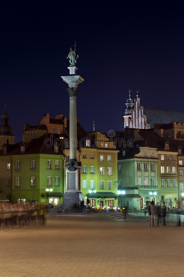 Monument of Polish King in Warsaw stock images