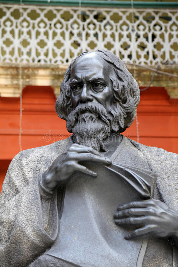 Monument of Rabindranath Tagore in Kolkata. Monument of Rabindranath Tagore on February 15, 2014 in Kolkata, India, he became the first non-European to win the royalty free stock images