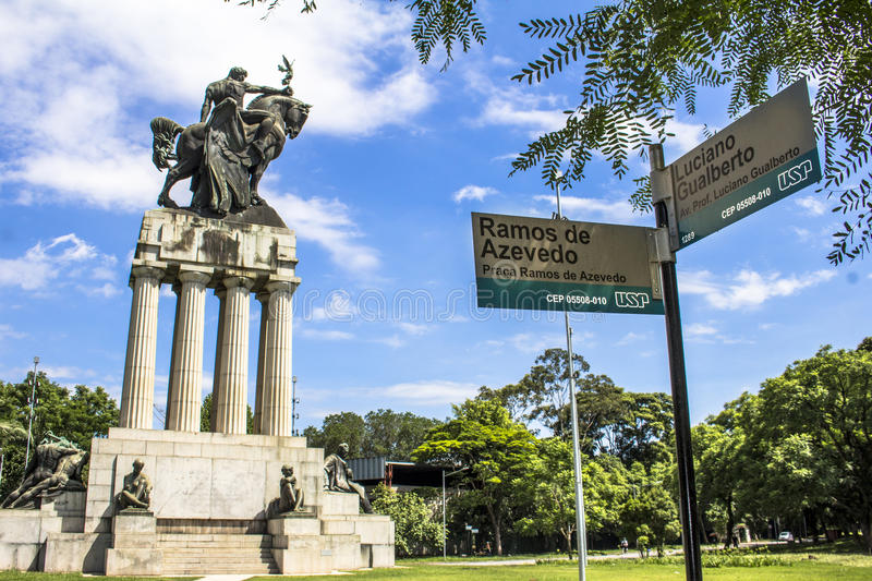 Monument Ramos de Azevedo stock photography