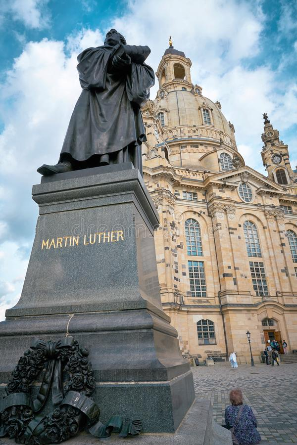 Monument of the reformer Martin Luther in Dresden stock photography
