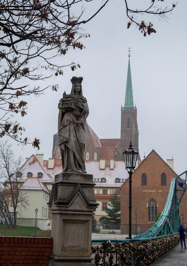 Monument of Saint Hedwig on Tumski bridge. Wroclaw. Poland royalty free stock photography