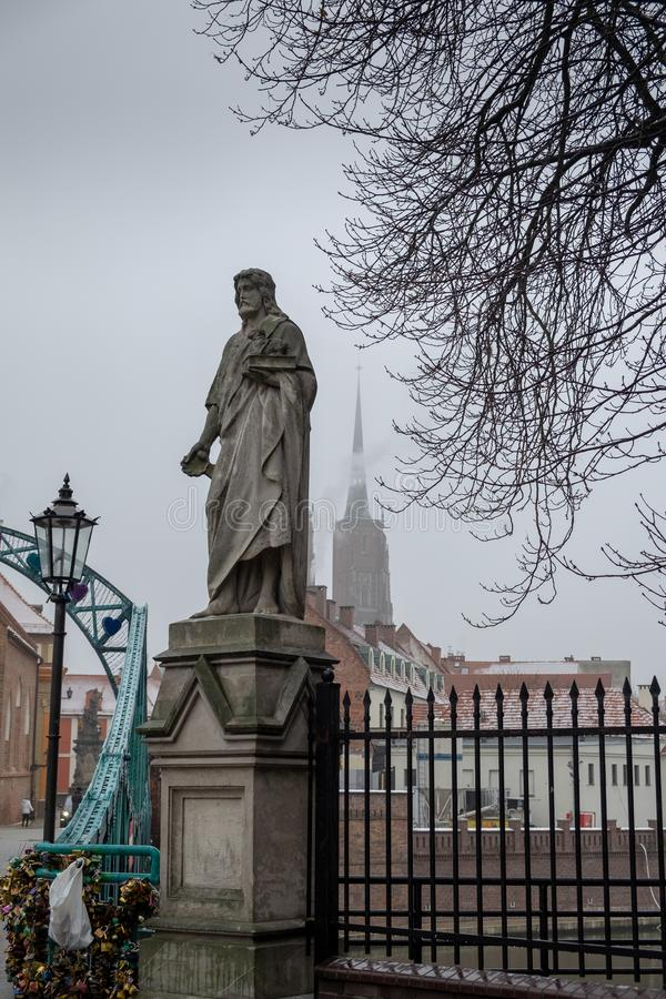 Monument of Saint John the Baptist on Tumski bridge. Wroclaw. Poland royalty free stock images