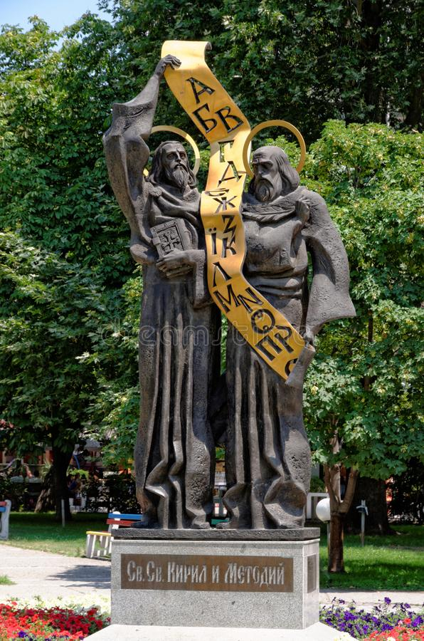 Monument of the Saints Cyril and Methodius in Pazardzhik, Bulgaria. PAZARDZHIK, BULGARIA - JULY 14, 2011: Monument of the Saints Cyril and Methodius in the town stock image
