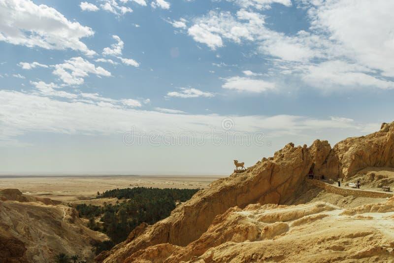 Monument of sheep in Sahara desert, Chebika, Tunisia royalty free stock images