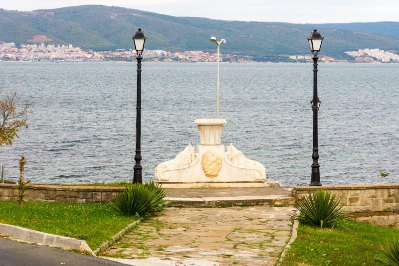 The monument on the shore of the Black Sea in Bulgaria, Nesebar stock photos