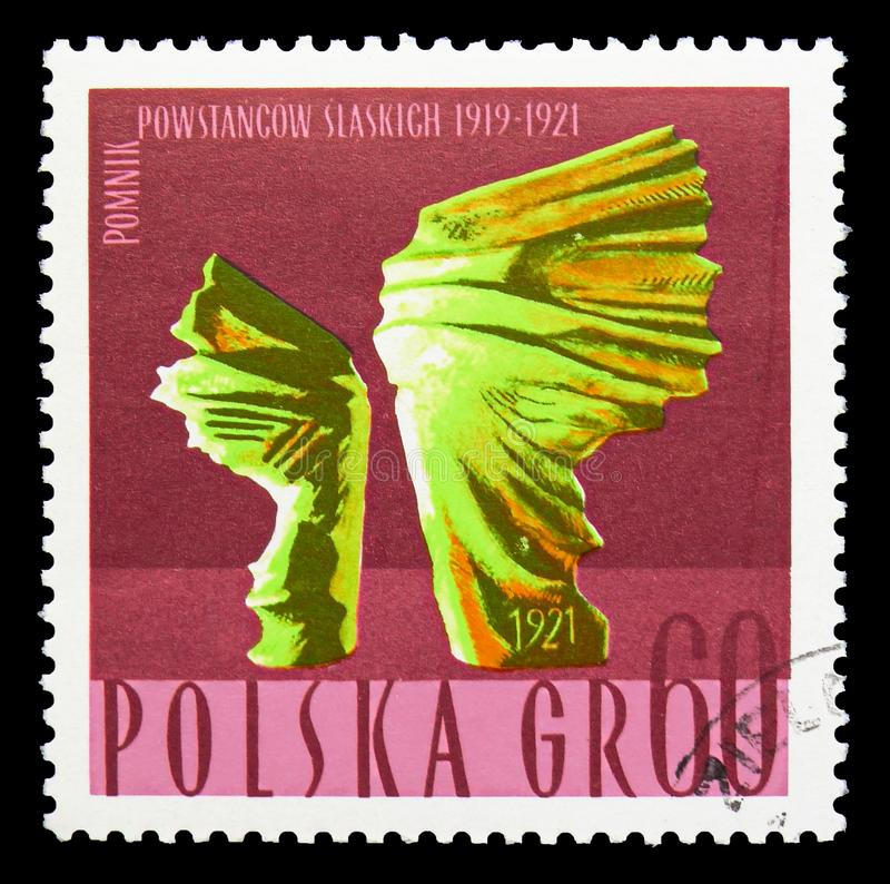 Monument for Silesian Insurgents, circa 1967. MOSCOW, RUSSIA - SEPTEMBER 15, 2018: A stamp printed in Poland shows Monument for Silesian Insurgents, circa 1967 stock photo