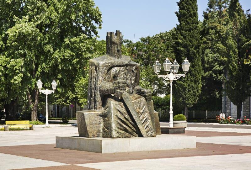 Monument som gör till kung Tomislav i Caplina stämma överens områdesområden som Bosnien gemet färgade greyed herzegovina inkluder arkivfoton