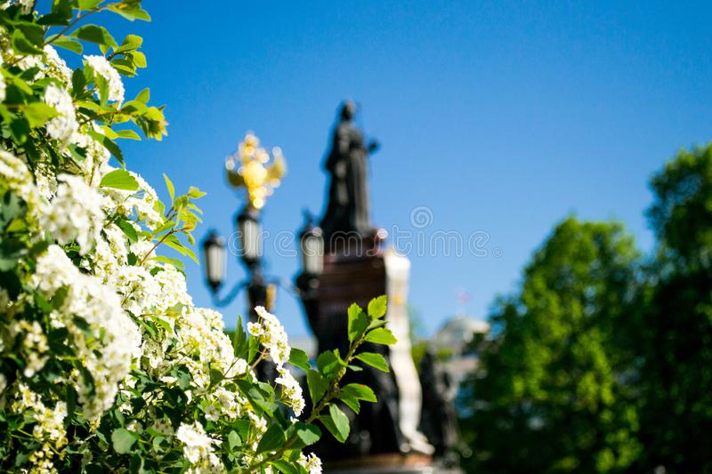 The monument in spring colors stock image