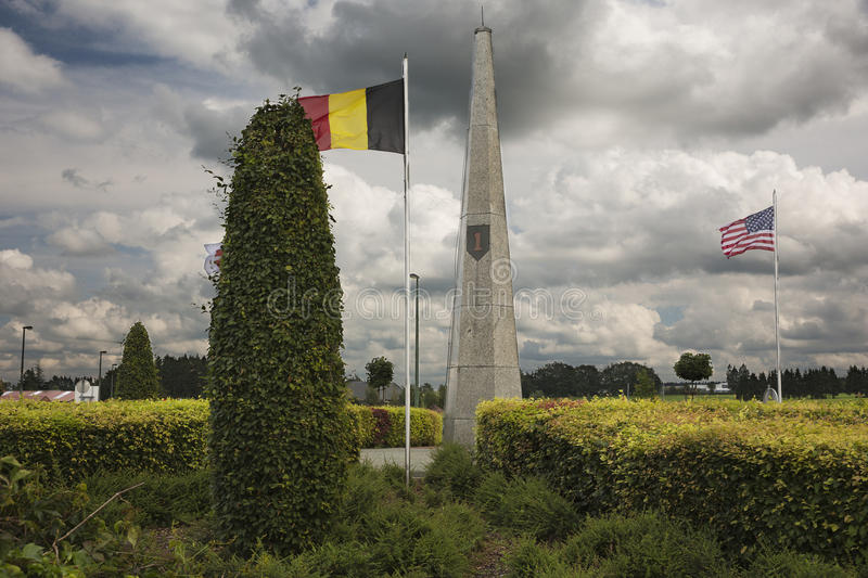 Monument for the 1st Infantry Division in Bullingen. In the Ardennes in Belgium royalty free stock photos