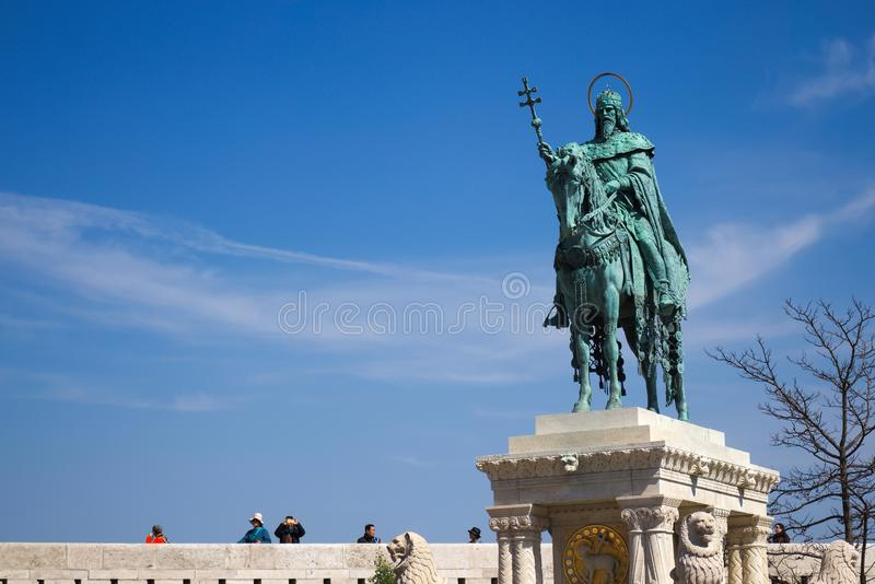 Monument of St. Stephan, Buda Castle, Budapest, Hungary. BUDAPEST, HUNGARY - April 16, 2019: Monument of St. Stephan Buda Castle in Budapest Hungary stock photo