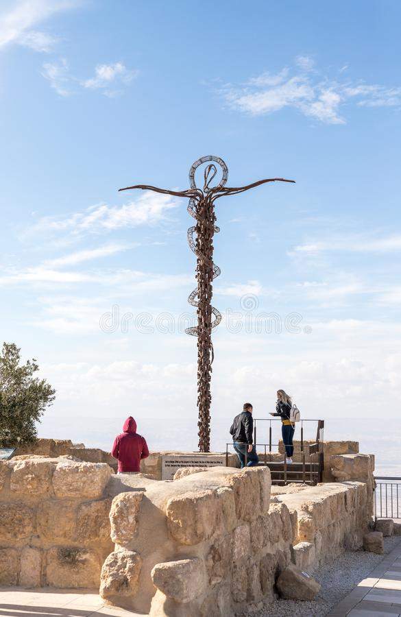 The monument - the Staff of Moses in Memorial Church of Moses on Mount Nebo near the city of Madaba in Jordan stock image