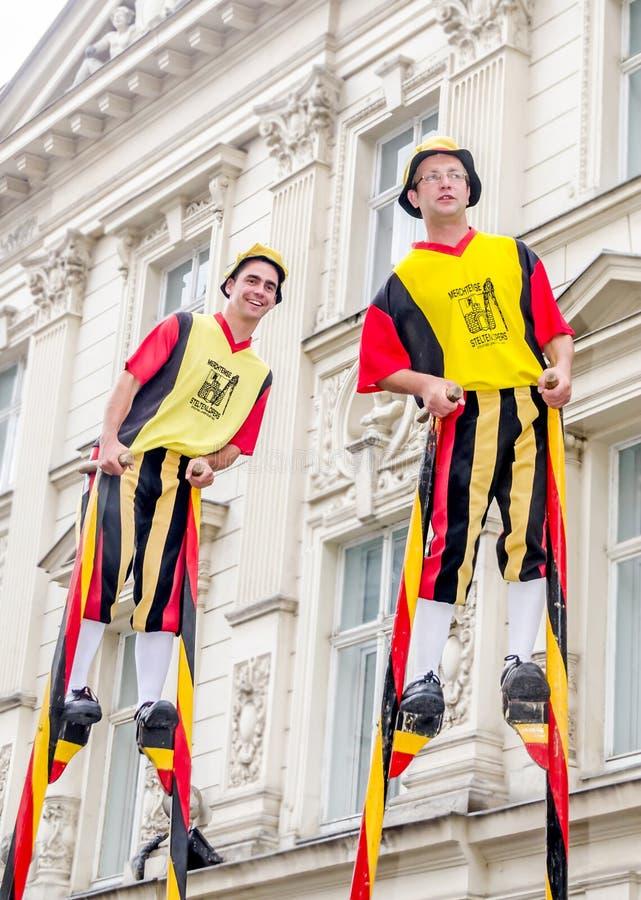International Street Theatre Company - Steltlopers Merchtem Belgium, Stiltwalkers. royalty free stock images