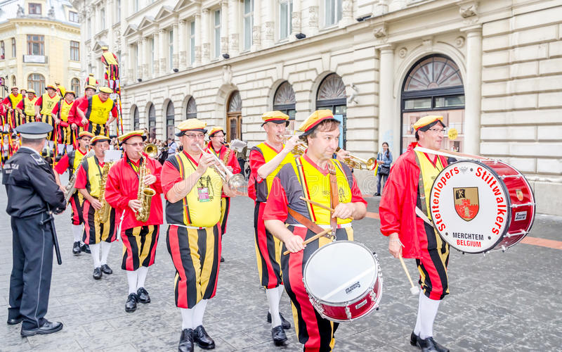 International Street Theatre Company - Steltlopers Merchtem Belgium, Stiltwalkers. International Street Theatre Company - Steltlopers Merchtem Belgium stock photography