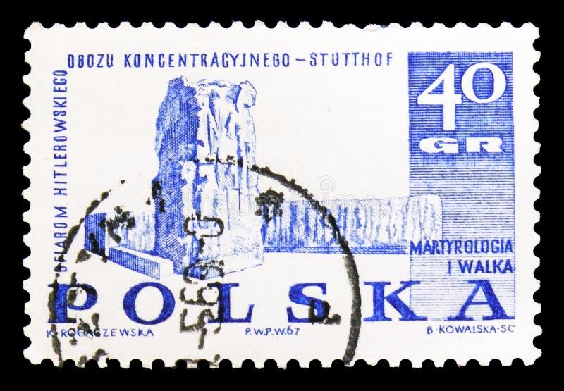 Monument in Stutthof, Strijd en Martelaarschap van de Poolse Mensen, serie van 1939-45, circa 1967 royalty-vrije illustratie
