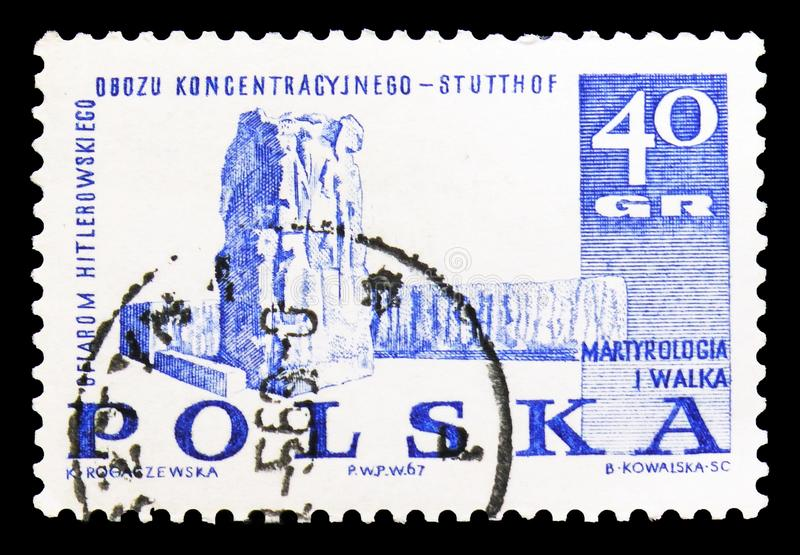 Monument in Stutthof, Struggle and Martyrdom of the Polish People, 1939-45 serie, circa 1967. MOSCOW, RUSSIA - SEPTEMBER 15, 2018: A stamp printed in Poland royalty free illustration